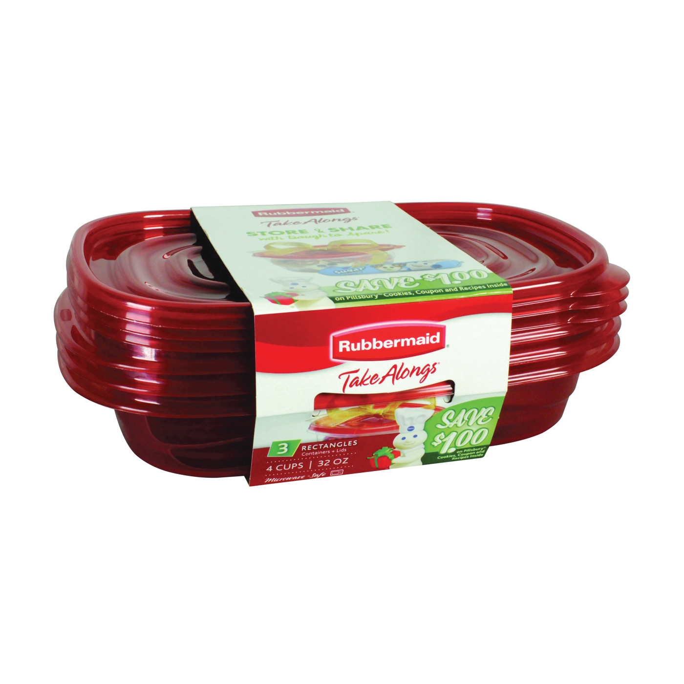 Picture of Rubbermaid Take Alongs 7F55RETCHIL Food Storage Container, 4 Cups Capacity, Plastic, Clear, 4 in L, 7 in W