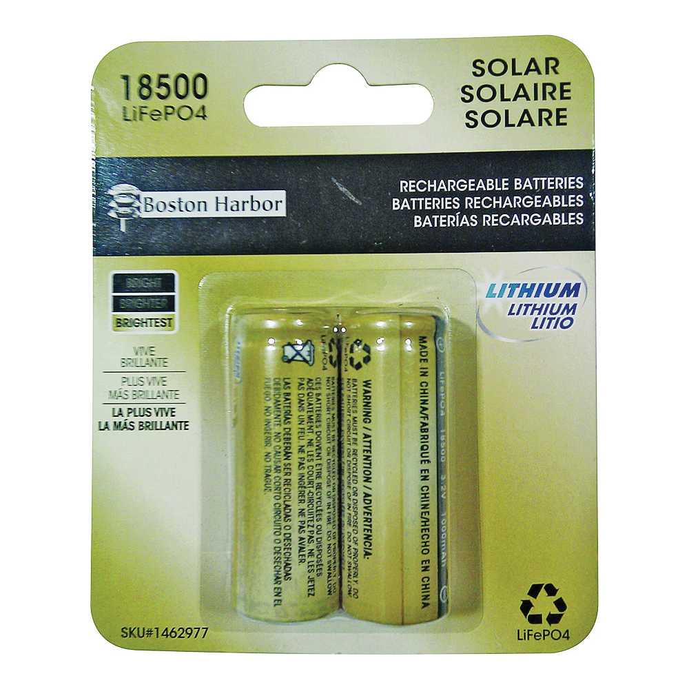 Picture of Boston Harbor BTLP185001000D2 Solar Battery, Rechargeable, Lithium Iron Phosphate, For: Solar Light