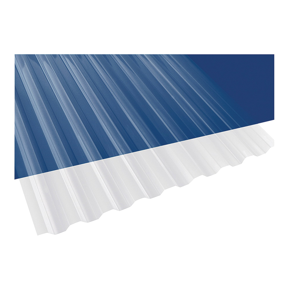 Picture of Suntuf 101697 Corrugated Panel, 8 ft L, 26 in W, Greca 76 Profile, 0.032 Thick Material, Polycarbonate, Clear