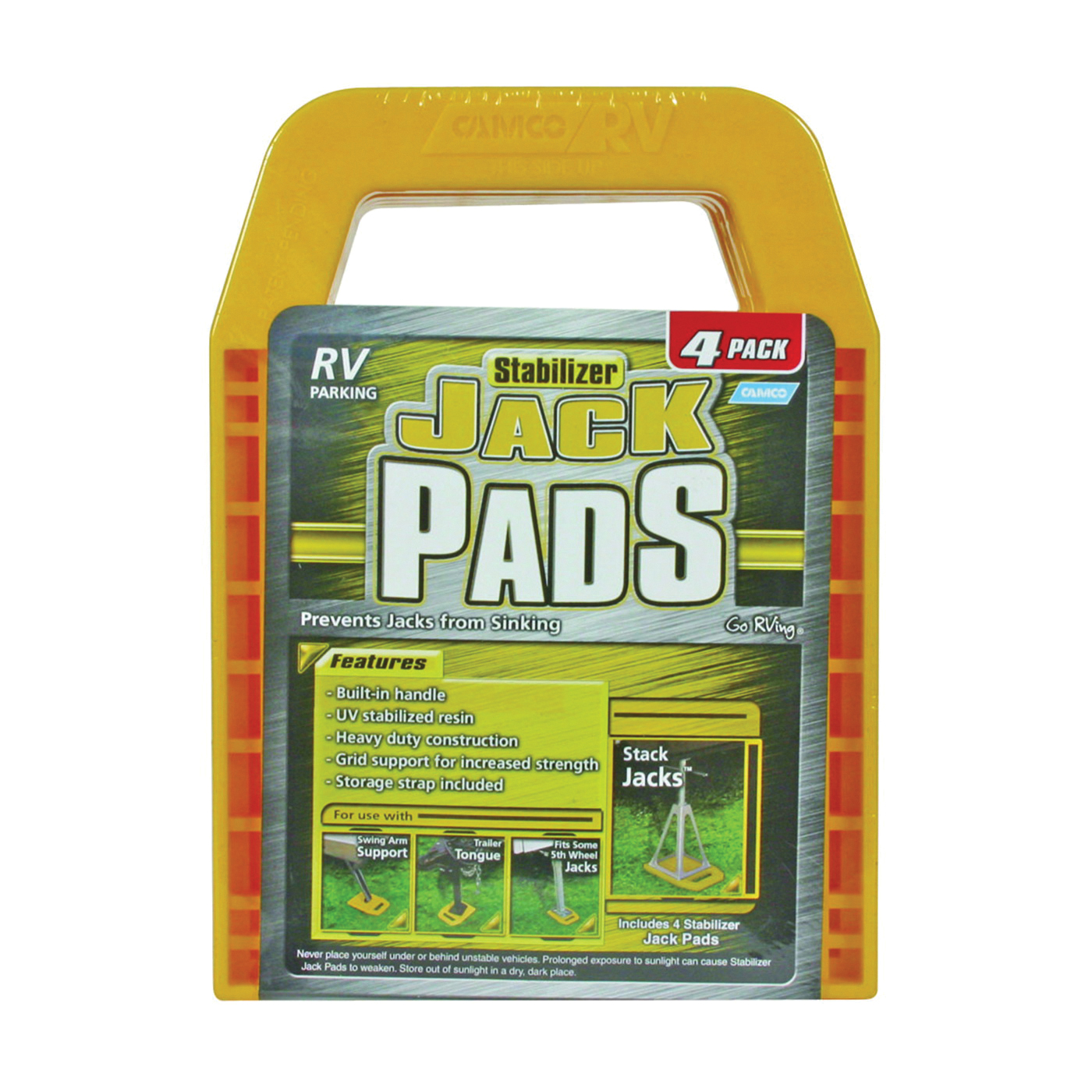 Picture of CAMCO 44595 Stabilizer Jack Pad, Resin, Yellow