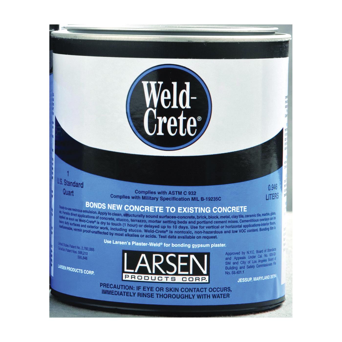 Picture of Larsen Weld-Crete WCQ06 Bonding Agent, Liquid, Low to Slight Acetic, Blue, 1 qt Package, Pail