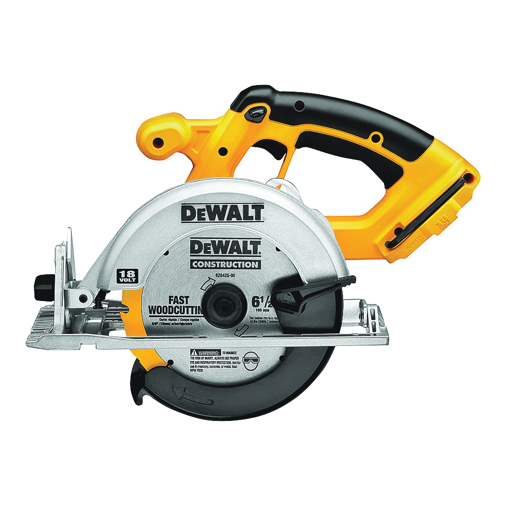 Picture of DeWALT DC390B Circular Saw, Bare Tool, 18 V Battery, 6-1/2 in Dia Blade, 50 deg Bevel, 3700 rpm Speed