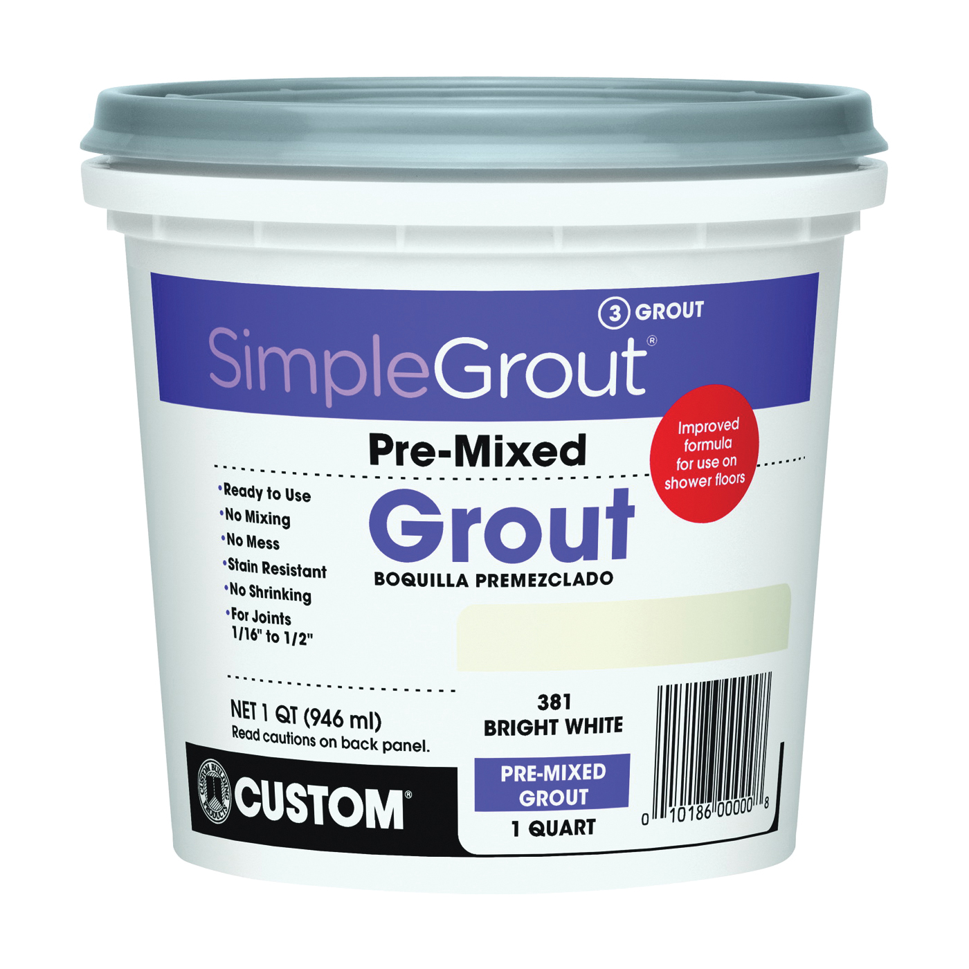 Picture of CUSTOM PMG381QT Tile Grout, Paste, Characteristic, Bright White, 1 qt Package, Pail