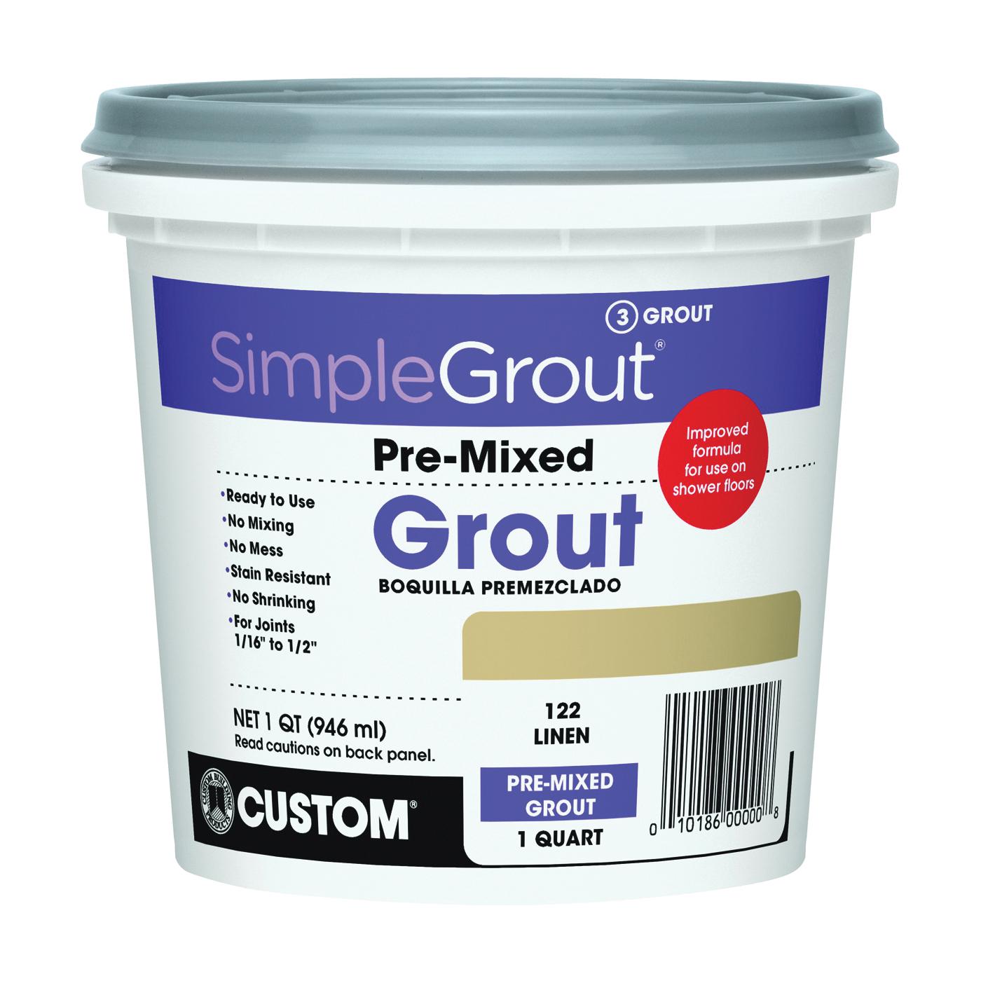 Picture of CUSTOM PMG122QT Tile Grout, Paste, Characteristic, Linen, 1 qt Package, Pail
