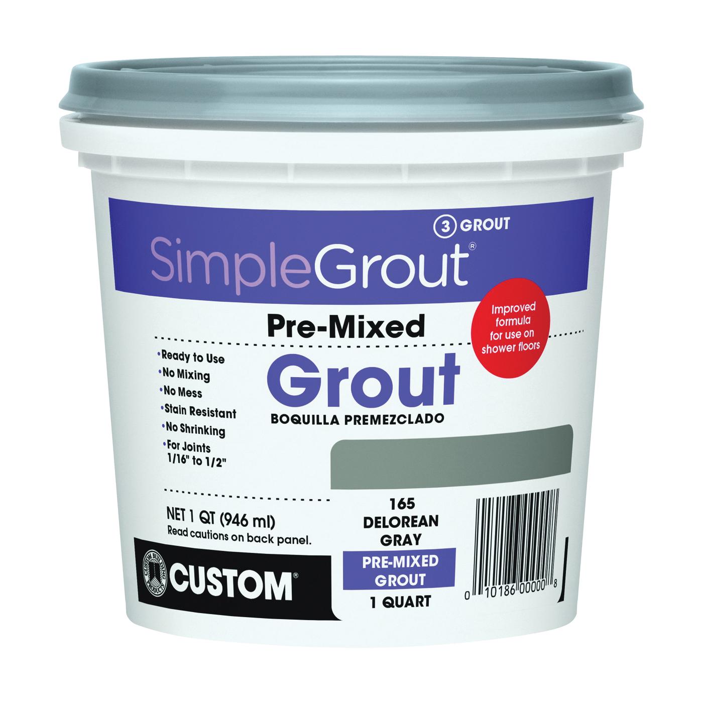 Picture of CUSTOM PMG165QT Tile Grout, Paste, Characteristic, DeLorean Gray, 1 qt Package, Pail