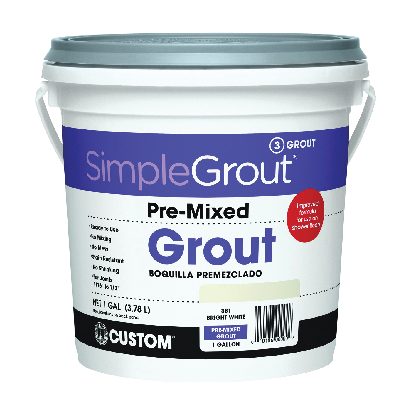 Picture of CUSTOM PMG3811-2 Tile Grout, Paste, Characteristic, Bright White, 1 gal Package, Pail