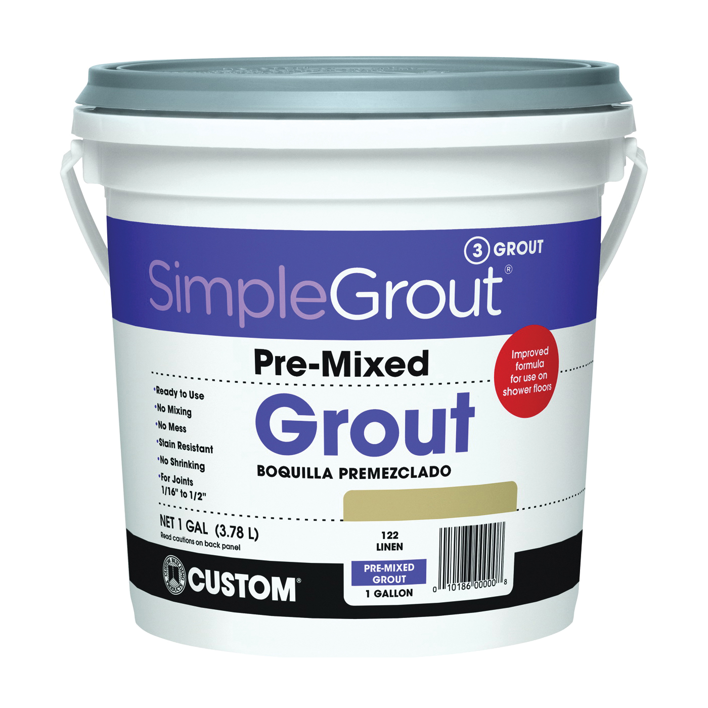 Picture of CUSTOM PMG1221-2 Tile Grout, Paste, Characteristic, Linen, 1 gal Package, Pail