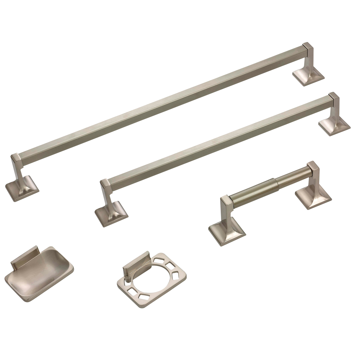 Picture of Boston Harbor 07-SOU-BN Bathroom Accessory Set, Brushed Nickel, Brushed Nickel, 5-Piece, For: Bathroom