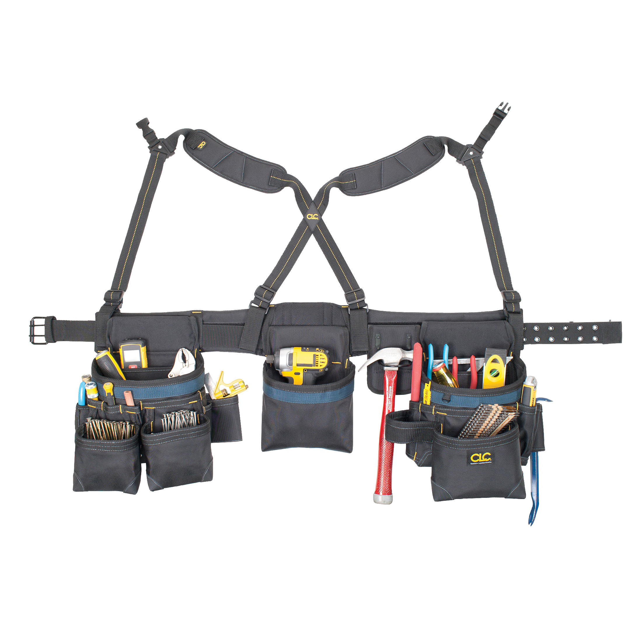 Picture of CLC Tool Works Framing Master 2617 Tool Belt, 29 to 46 in Waist, Ballistic Poly Fabric, Black, 28 -Pocket