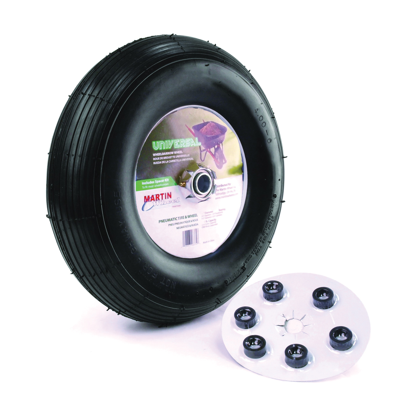 Picture of MARTIN WHEEL 406TTRIB32 Wheelbarrow Wheel with Universal Hub, 4 x 6 in Tire, 13 in Dia Tire, Ribbed Tread