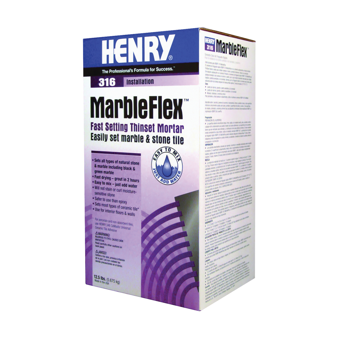 Picture of HENRY Marbelflex 12035 Thin-Set Adhesive, Powder, 12.5 lb Package, Box