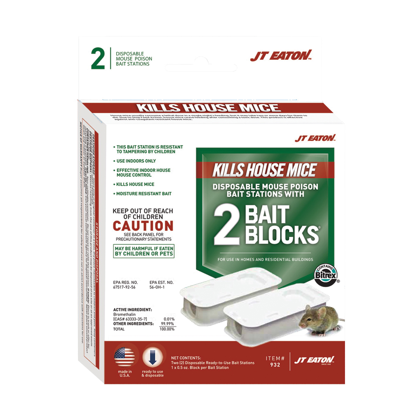 Picture of J.T. EATON Answer 932 Mice Bait Station, 1 oz Bait, Green