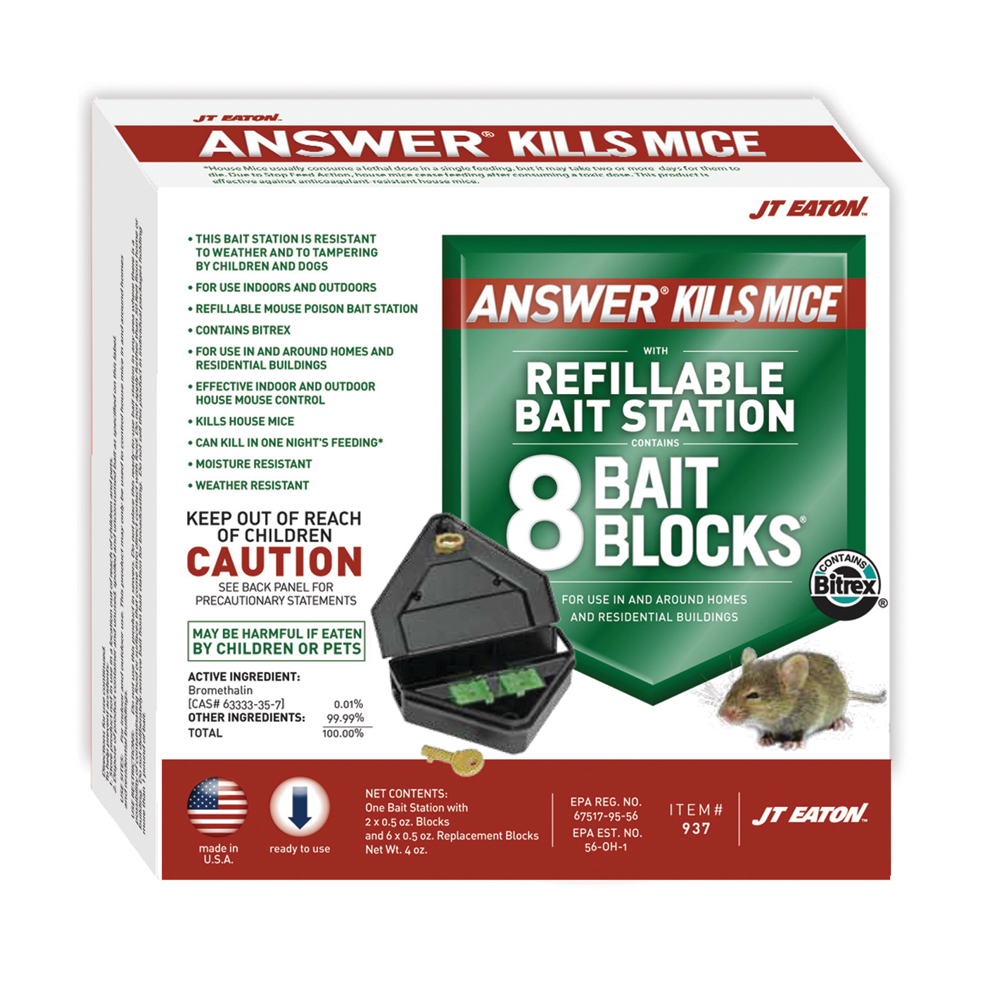 Picture of J.T. EATON Answer 937 Mouse Killer with Reusable Bait Station, 1 oz Bait, Green
