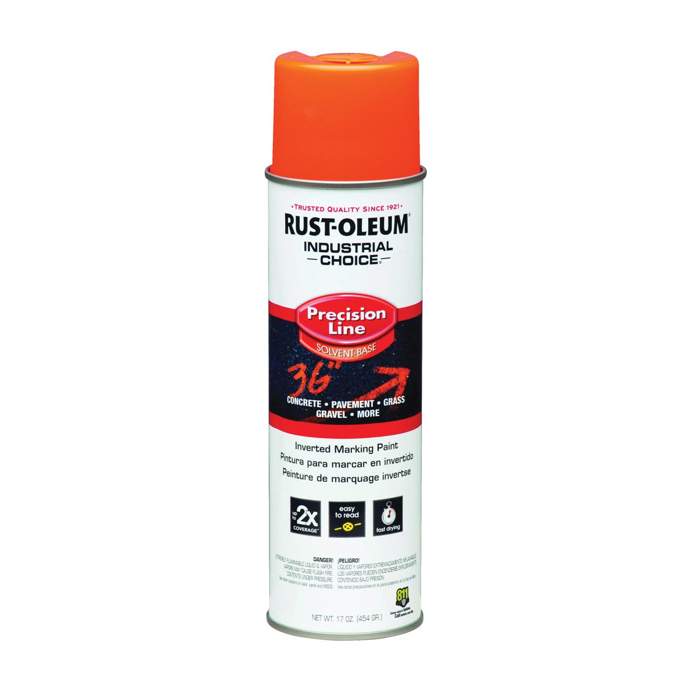 Picture of RUST-OLEUM INDUSTRIAL CHOICE 203027 Marking Paint, Semi-Gloss, Fluorescent Orange, 17 oz, Aerosol Can