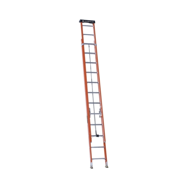 Picture of Louisville L-3022-24PT Extension Ladder, 286 in H Reach, 300 lb, 1-1/2 in D Step, Fiberglass, Orange