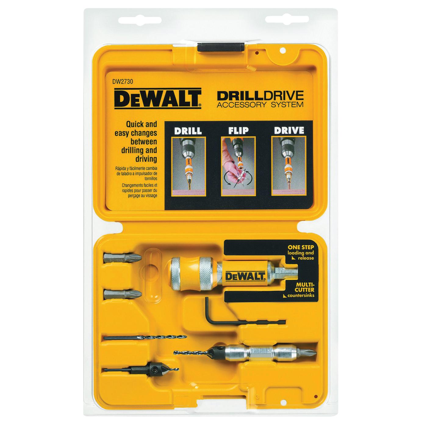 Picture of DeWALT DW2730 Drill Drive Set, 8 -Piece, Steel, Black Oxide