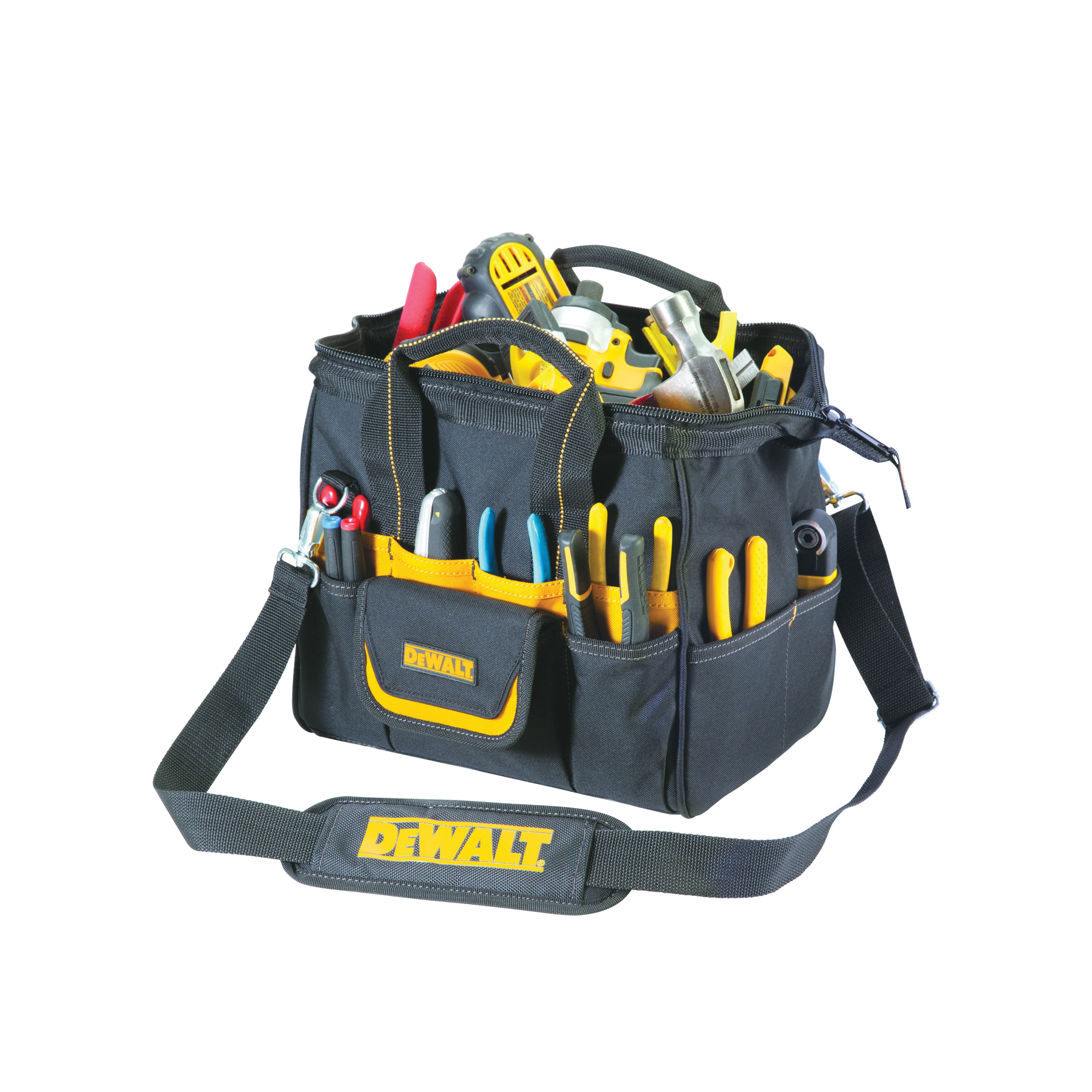 Picture of CLC DG5542 Tradesman Tool Bag, 4-1/2 in W, 13-1/4 in D, 12 in H, 29 -Pocket, Ballistic Poly Fabric, Black/Yellow
