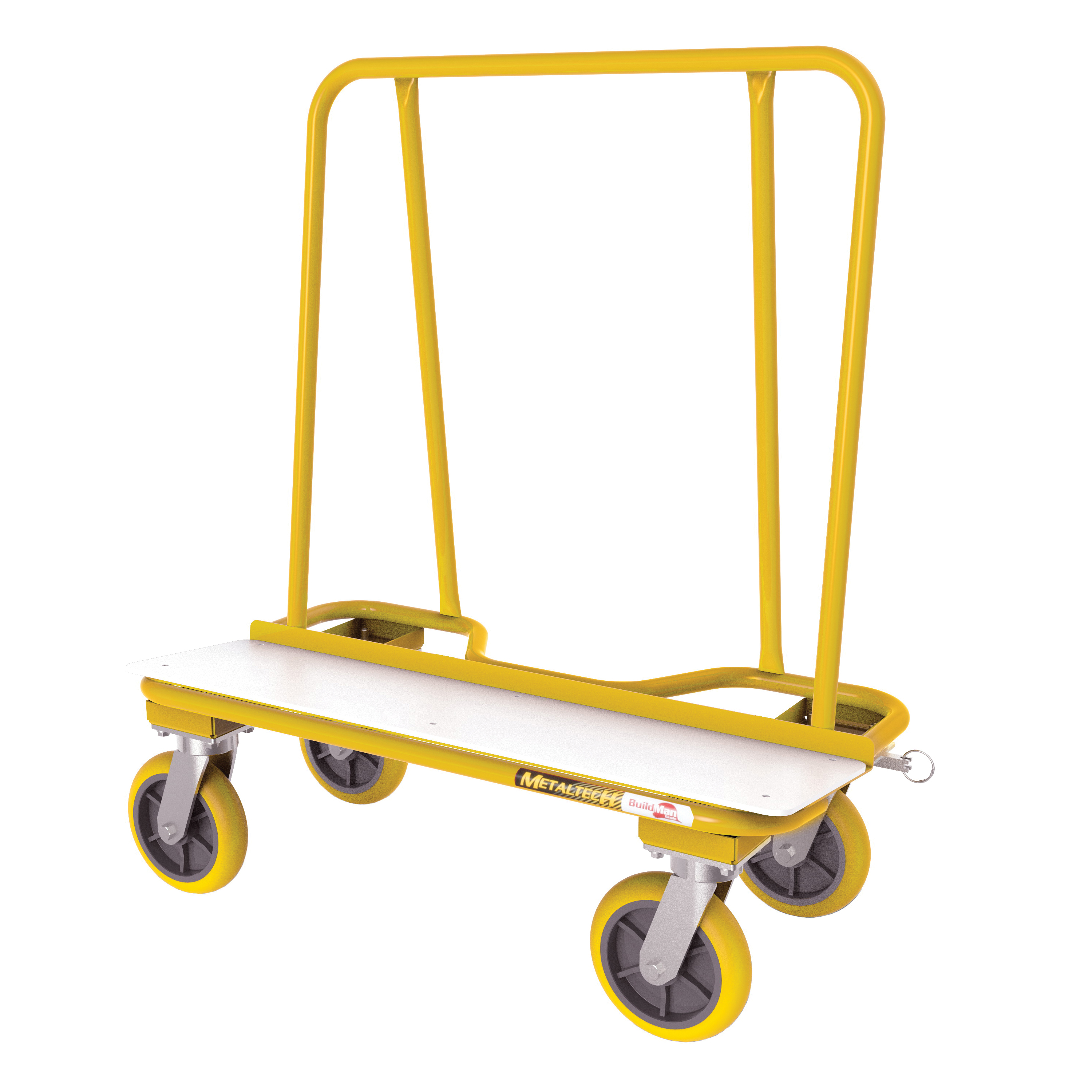 Picture of METALTECH 2000 Series I-BMD2131YGR Drywall Cart, 3000 lb, 13 Gauge, Steel, 38 in OAL, 20 in OAW, Yellow