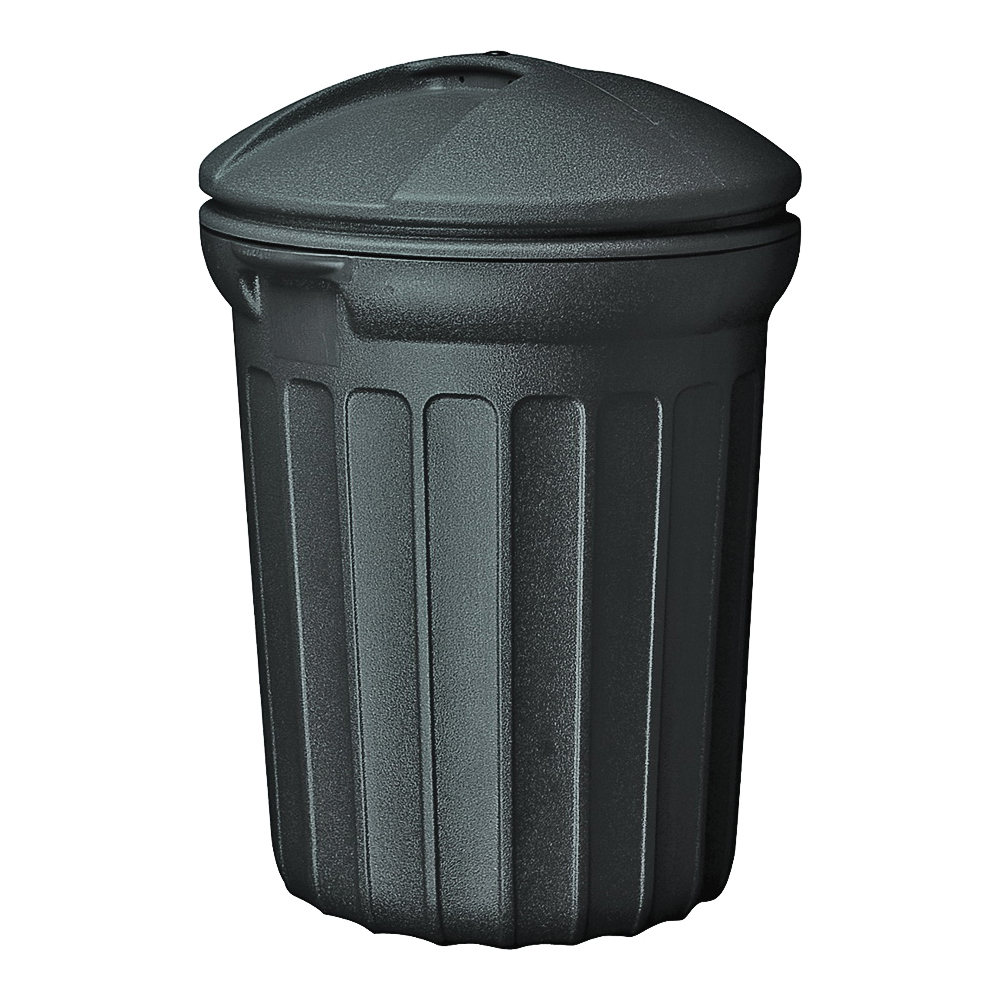 Picture of United Solutions TB0007 Trash Can, 32 gal Capacity, Plastic, Black, Snap-On Lid Closure
