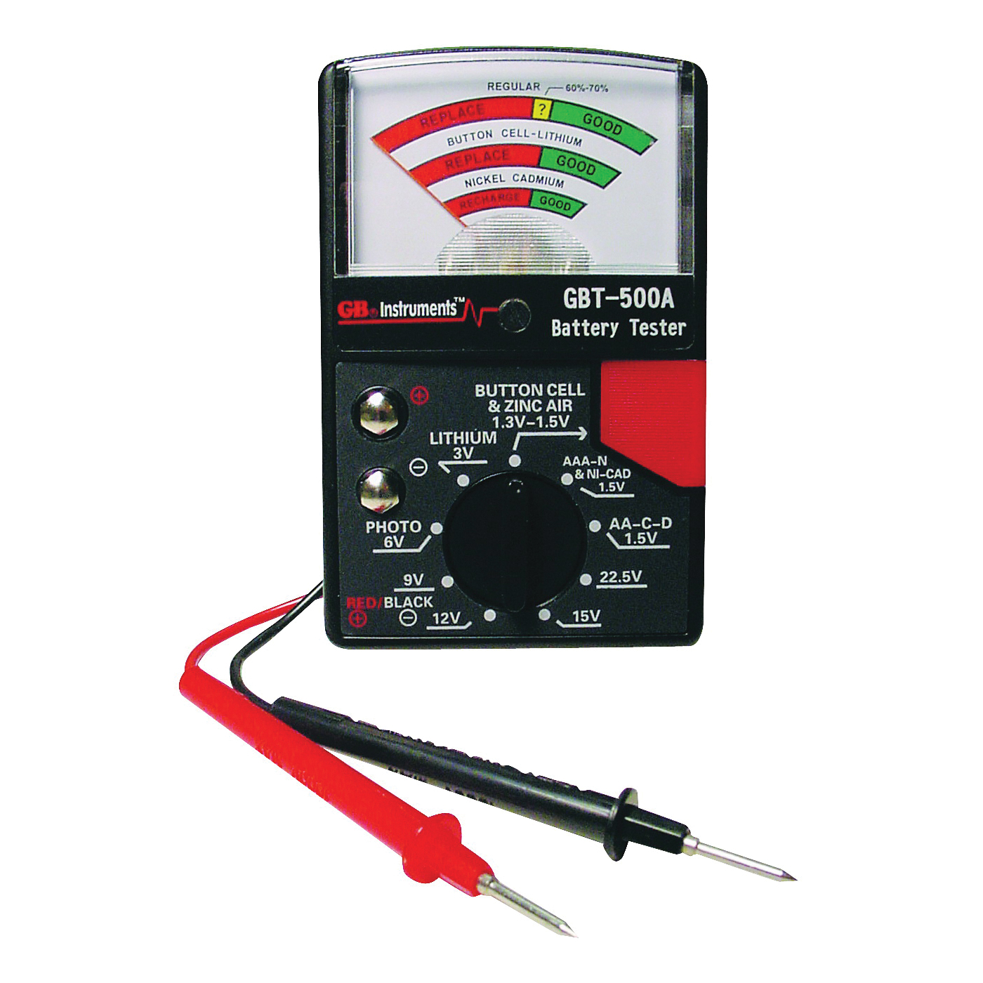 Picture of GB GBT-500A Battery Tester, 1.5 to 22.5 V, Analog Display, Black