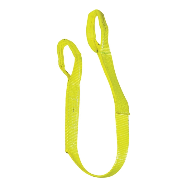 Picture of S-Line 20-EE1-9801X4 Lifting Sling, 1 in W, 4 ft L, 2-Ply, 1600 lb Vertical Hitch, Polyester, Yellow