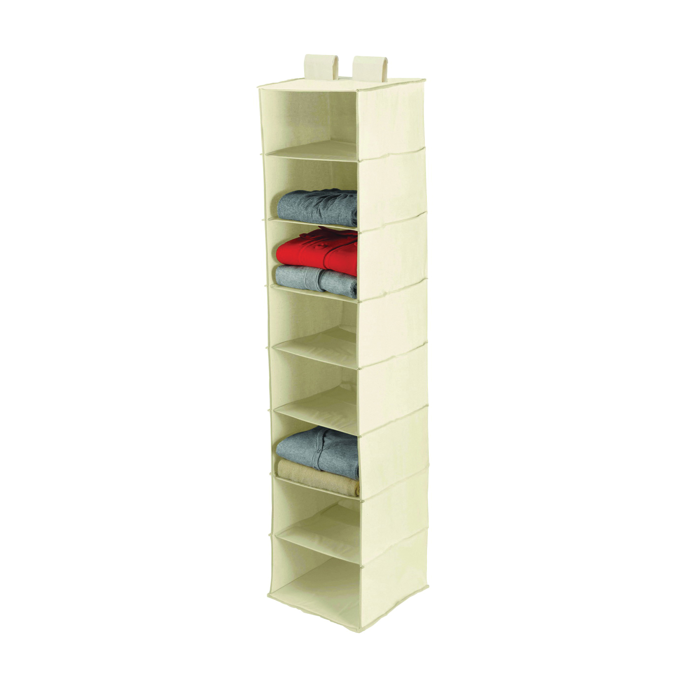 Picture of Honey-Can-Do SFT-01253 Closet Organizer, 12 in W, 54 in H, 8-Shelf, Canvas, Beige