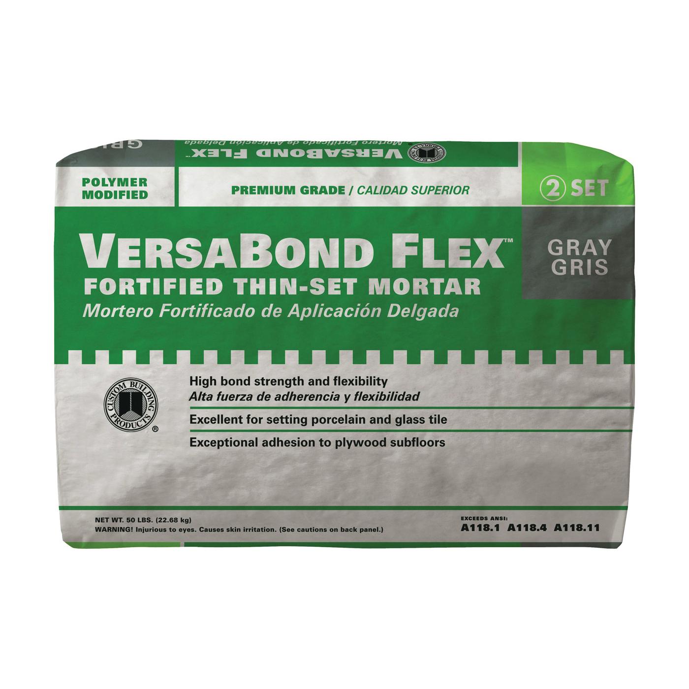 Picture of CUSTOM VersaBond Flex VBFG50 Thin-Set Mortar, Gray, Powder, 50 lb Package, Bag