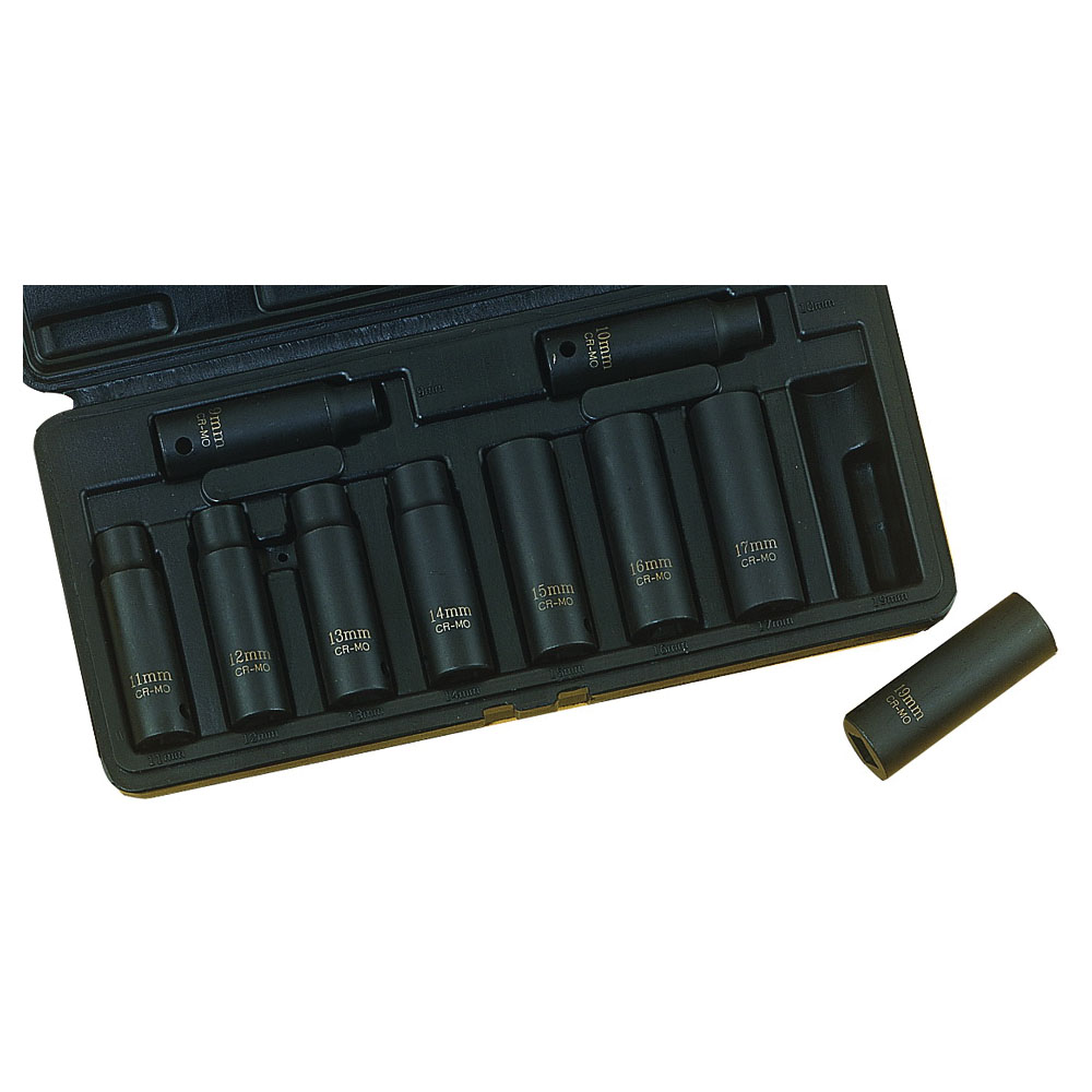 Picture of Vulcan MTI10-M Socket Set, Chrome Molybdenum Steel, Tempered Phosphate, Specifications: 1/2 in Drive Size