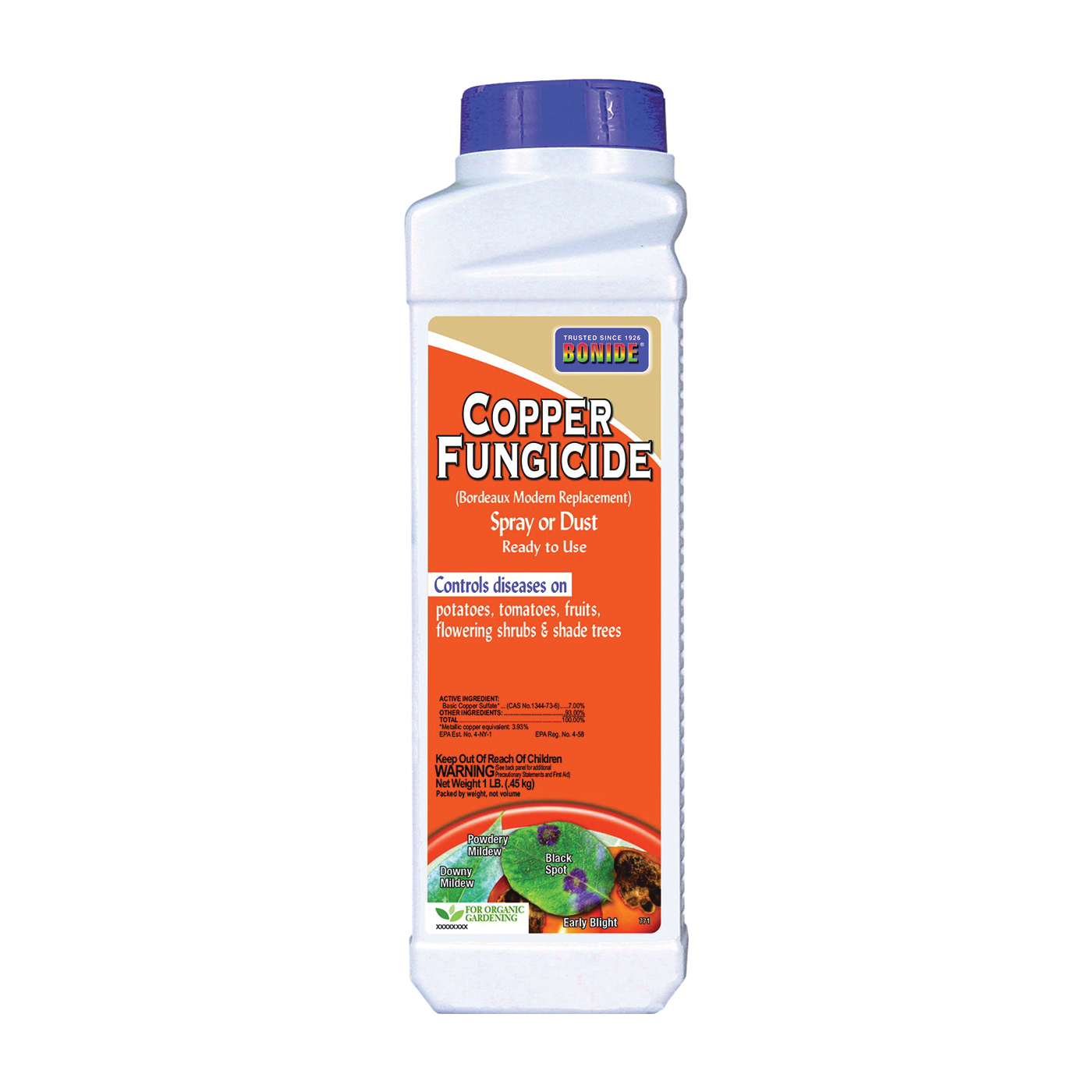 Picture of Bonide 771 Copper Fungicide Spray or Dust, Solid, Blue/Green, 1 lb Package, Bottle
