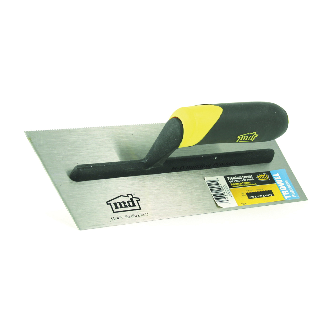 Picture of M-D 20051 Tile Installation Trowel, 11 in L, 4-1/2 in W, U Notch, Comfort-Grip Handle