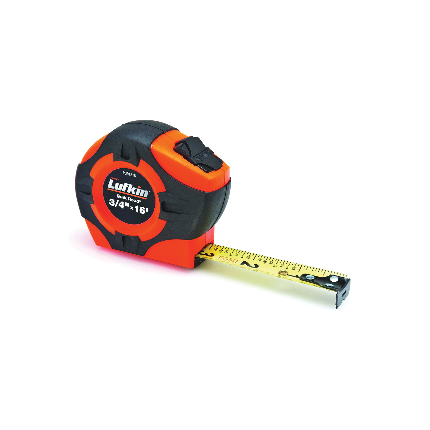 Picture of Crescent Lufkin Quikread PQR1316N Tape Measure, 16 ft L Blade, 3/4 in W Blade, Steel Blade, ABS/Rubber Case
