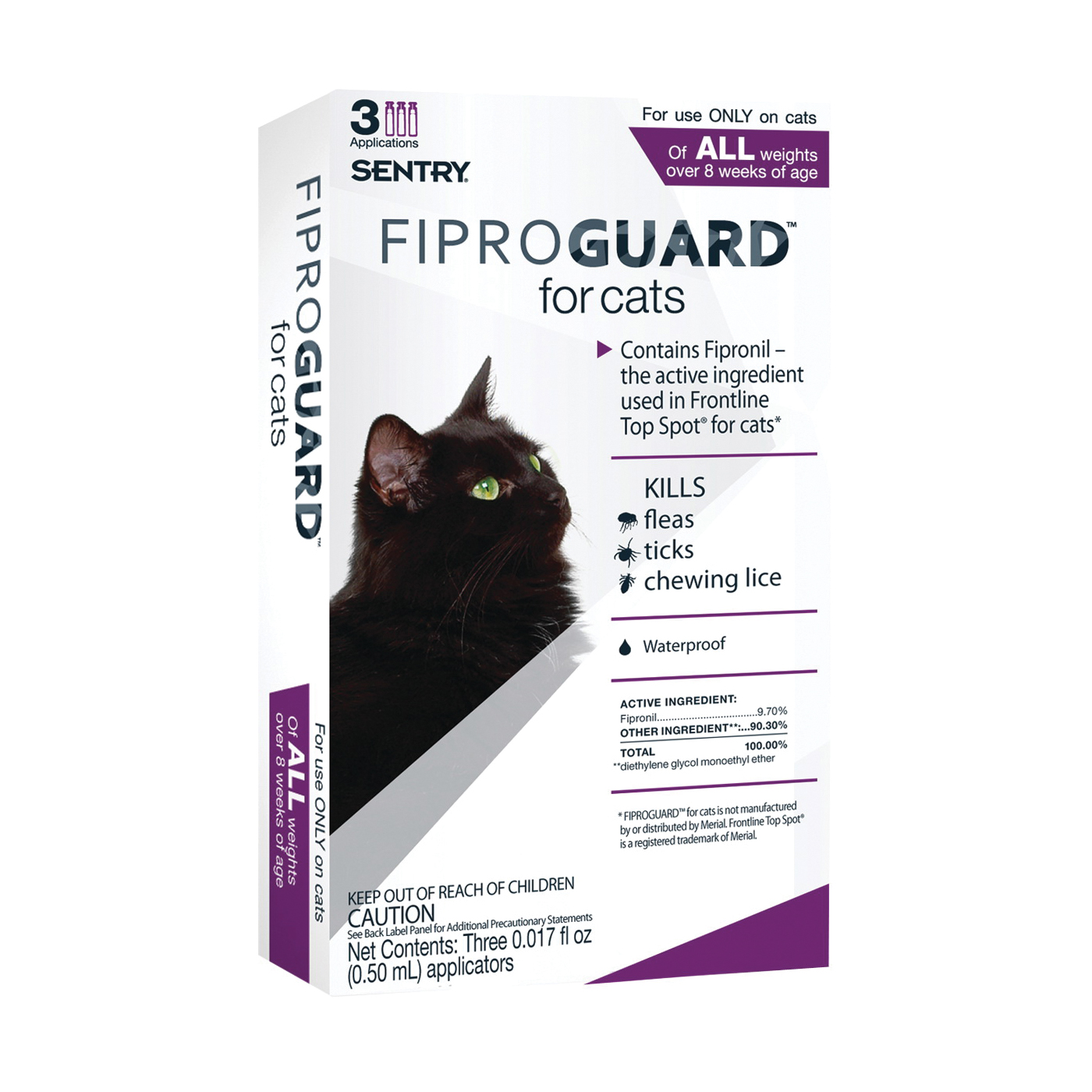 Picture of SENTRY Fiproguard 02954 Flea and Tick Squeeze-On, Liquid, 3 Count Package