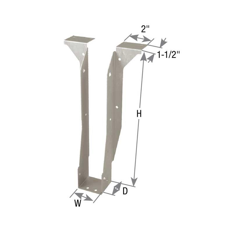 Picture of MiTek TFL2595 Joist Hanger, 9-1/2 in H, 2 in D, 2-1/2 in W, 2-1/2 in x 9-1/2 in, Steel, G90 Galvanized