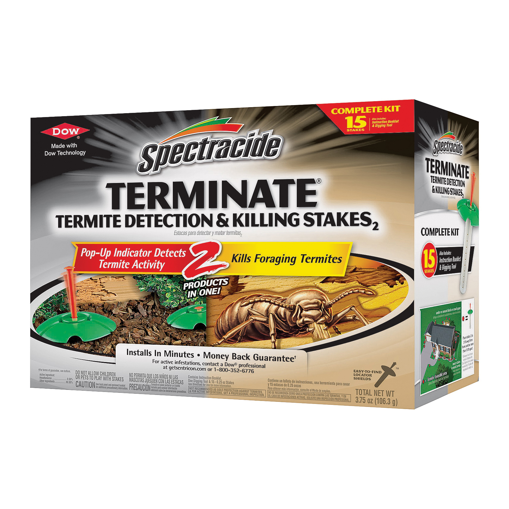 Picture of Spectracide HG-96116 Termite Detection and Killing Stake, Solid, Odorless, Brown/Tan