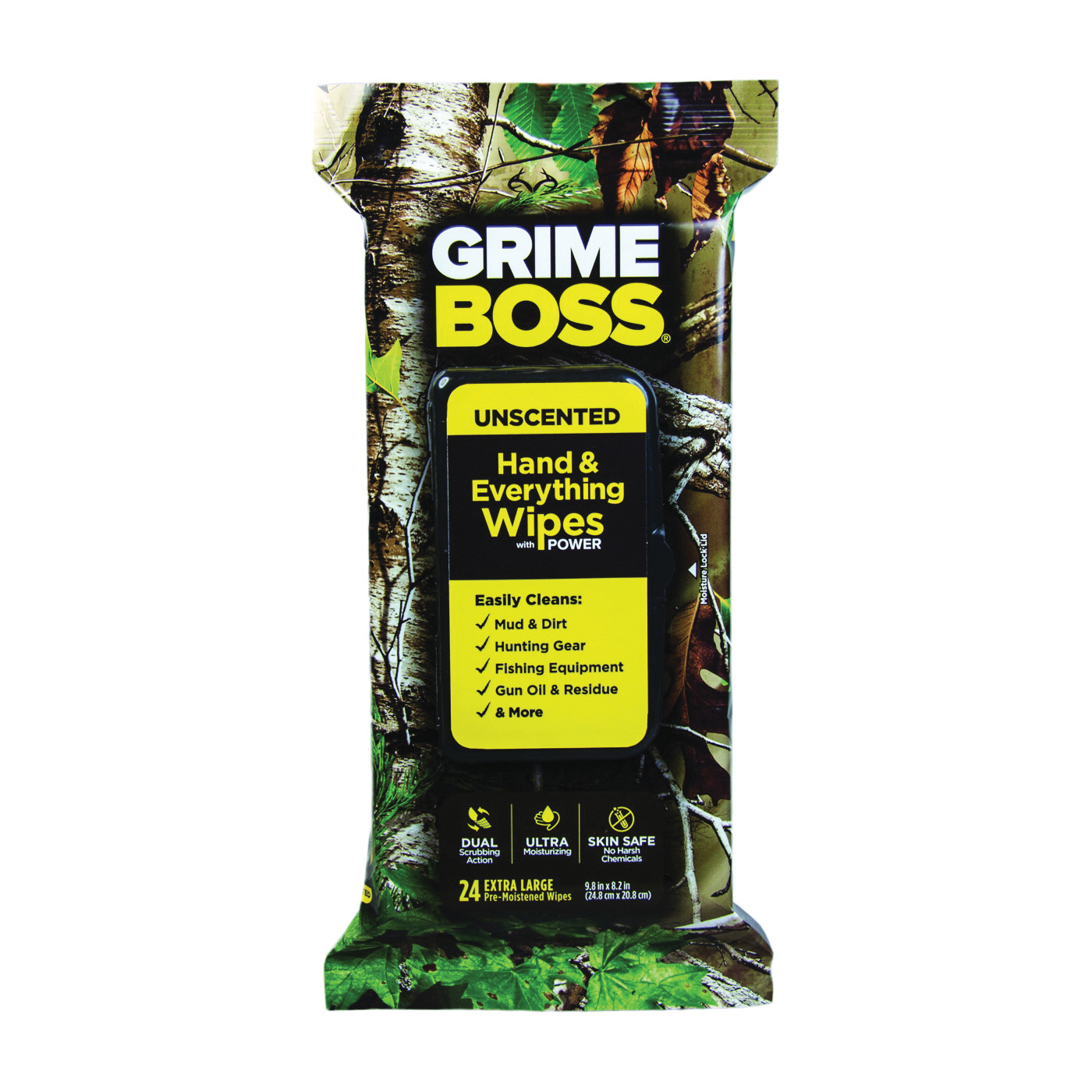 Picture of Grimeboss A554S24 Cleaning Wipes, 9.8 in L, 8.2 in W, Unscented, Vinyl, 24