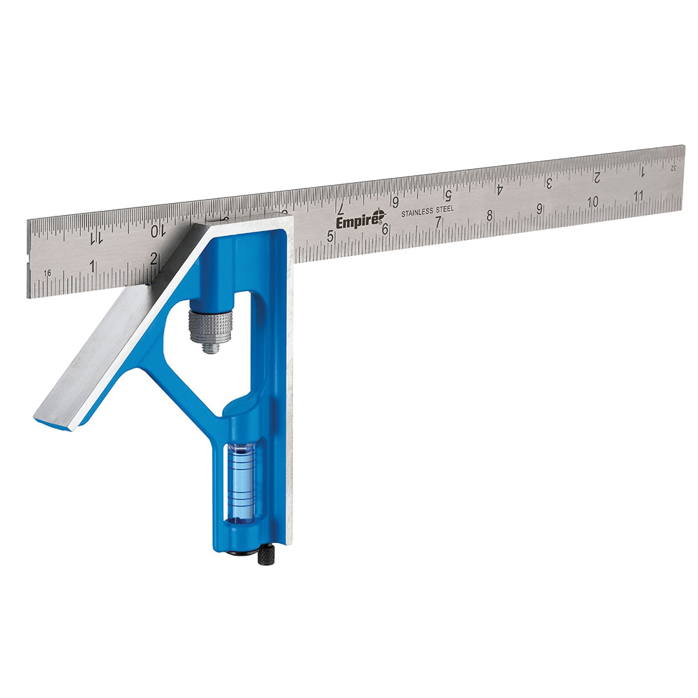 Picture of Empire True Blue E250 Combination Square, 0.0625 in Graduation, Stainless Steel Blade