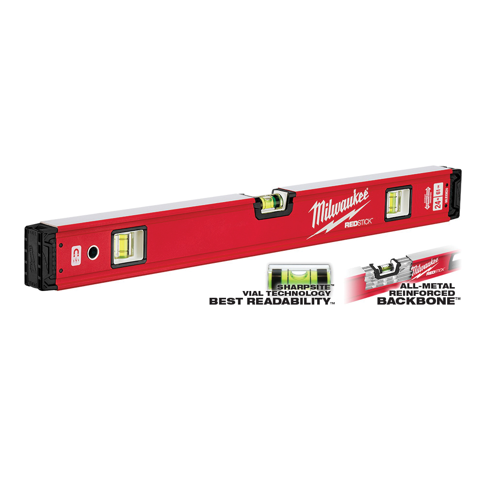 Picture of Milwaukee REDSTICK MLBXM24 Magnetic Box Level, 24 in L, 3 -Vial, 1 -Hang Hole, Magnetic, Aluminum, Red