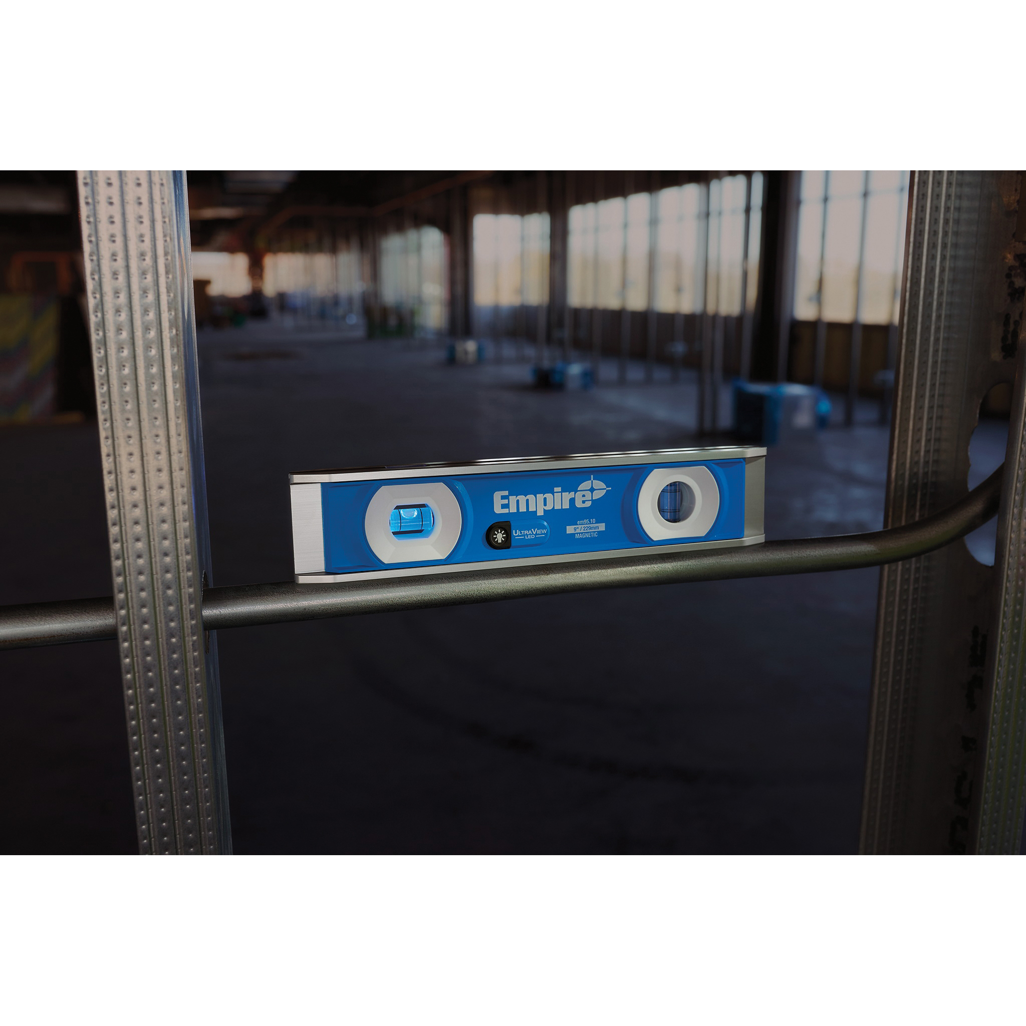 Picture of Empire True Blue e95 UltraView EM95.10 LED Magnetic Torpedo Level, 9 in L, 2 -Vial, Magnetic, Aluminum, Blue