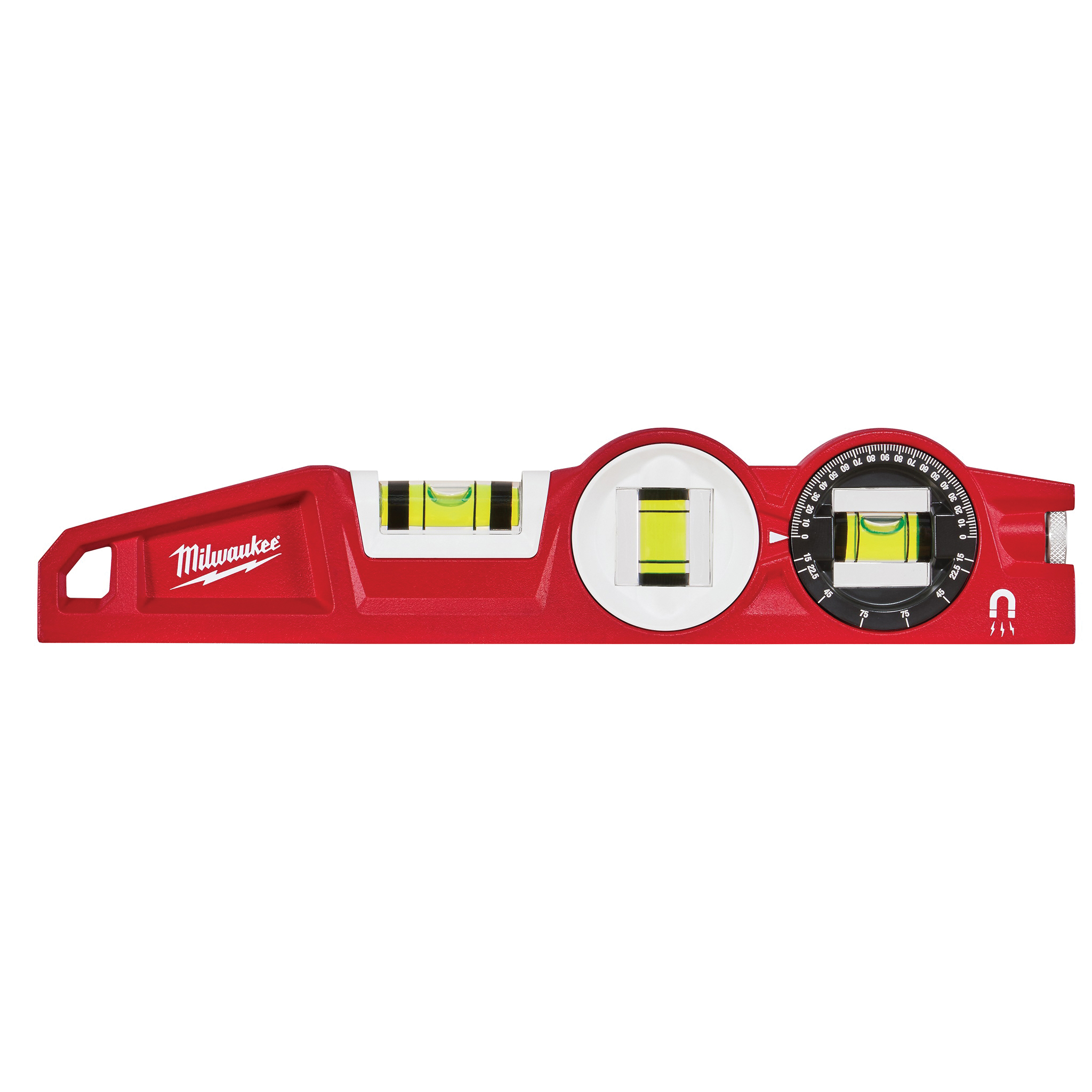 Picture of Milwaukee 48-22-5210 Torpedo Level, 10 in L, 3 -Vial, Magnetic, Aluminum, Red