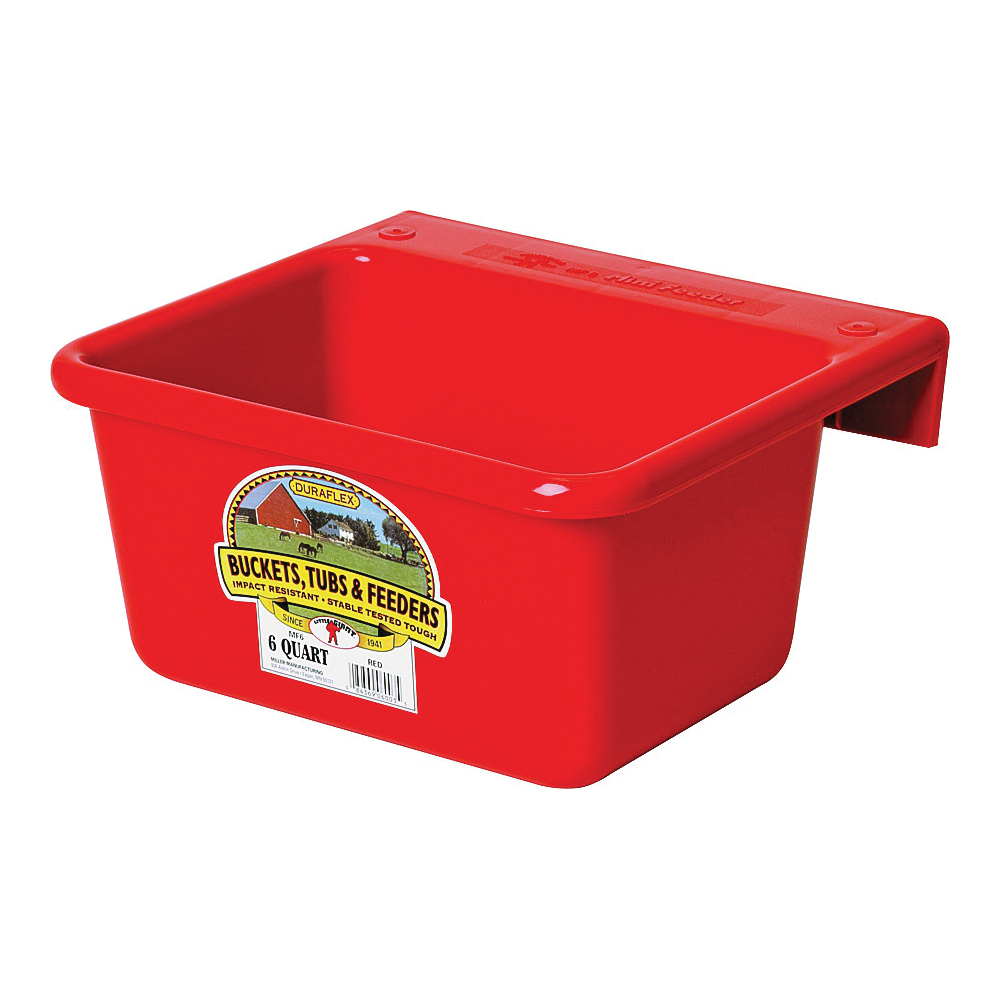 Picture of Little Giant MF6RED Hook Over Feeder, 6 qt Volume, DuraFlex Plastic, Red