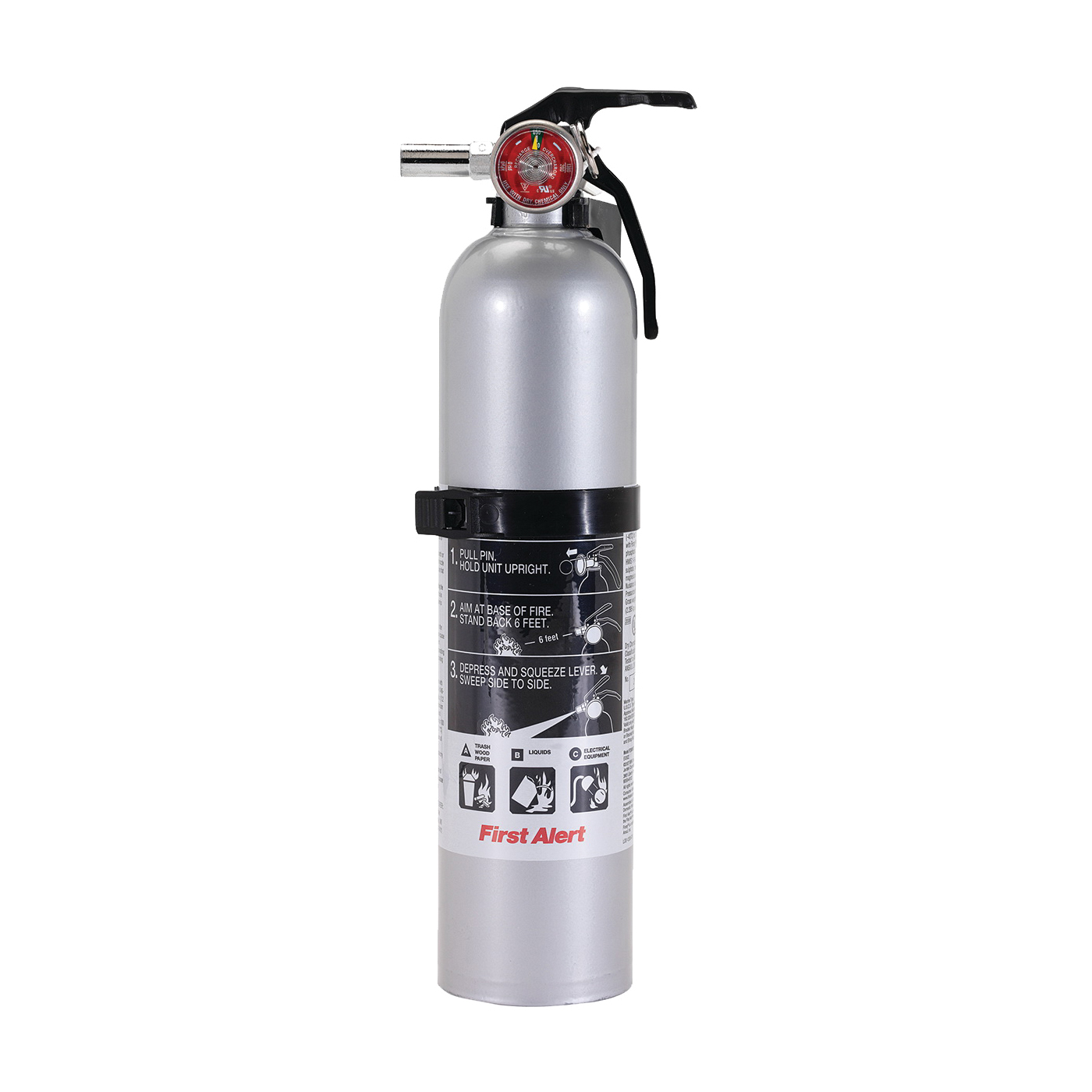 Picture of FIRST ALERT DHOME1 Rechargeable Fire Extinguisher, 2.4 lb Capacity, Monoammonium Phosphate, 1-A:10-B:C Class