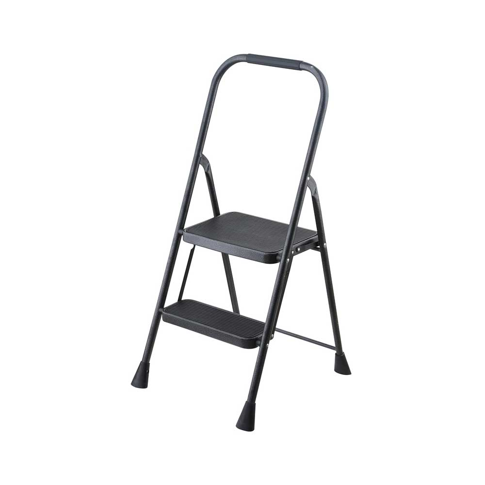 Picture of Simple Spaces HB2-2H Folding Type 3 Step Stool, 38-1/2 in H, 2-Step, 225 lb, 5-1/8 in D Step, Steel, Black