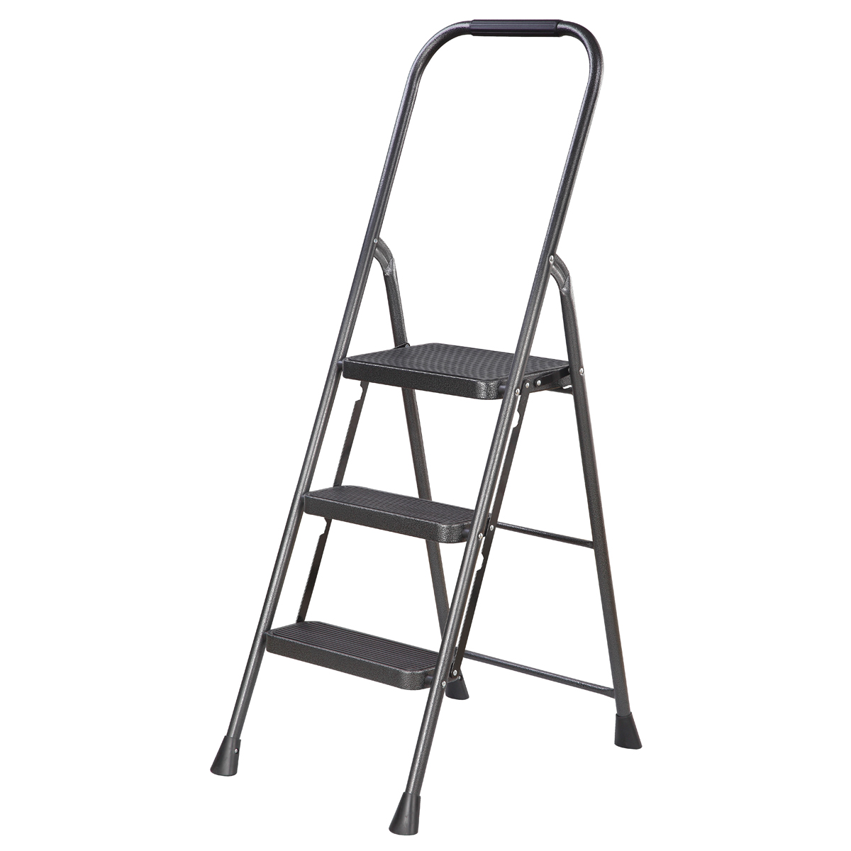 Picture of Simple Spaces HB3-2H Folding Step Stool, 50-3/4 in H, 3-Step, 225 lb, 5-1/8 in D Step, Steel, Black