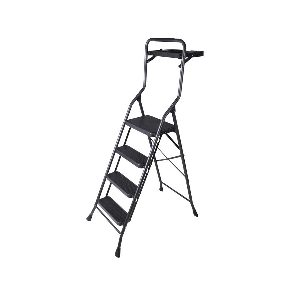 Picture of Simple Spaces HB4-2H Folding Step Stool, 62-1/2 in H, 4-Step, 250 lb, 5-1/8 in D Step, Steel, Black