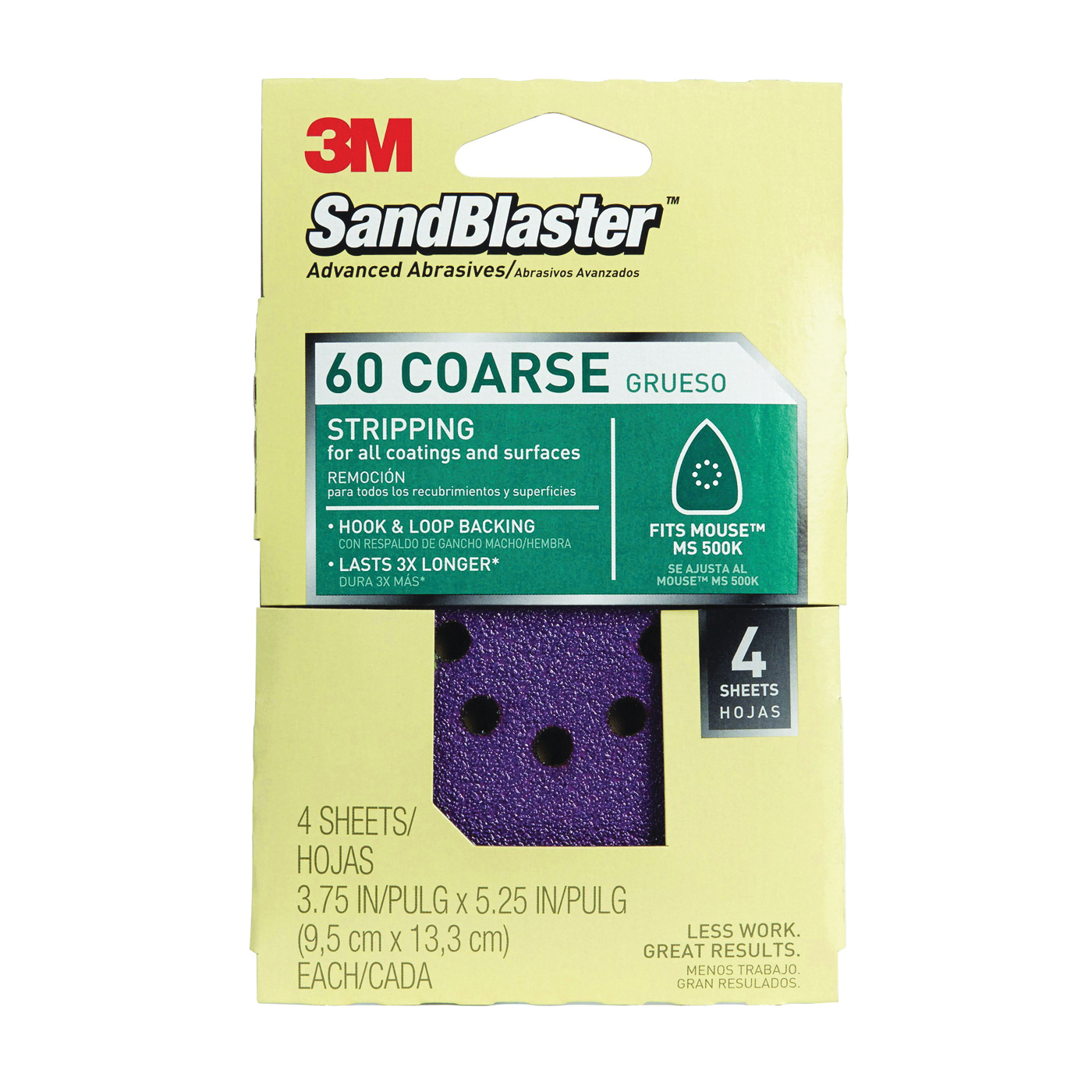 Picture of 3M SandBlaster 9670 Sanding Sheet, 60-Grit, Cubitron Mineral, 5 in L