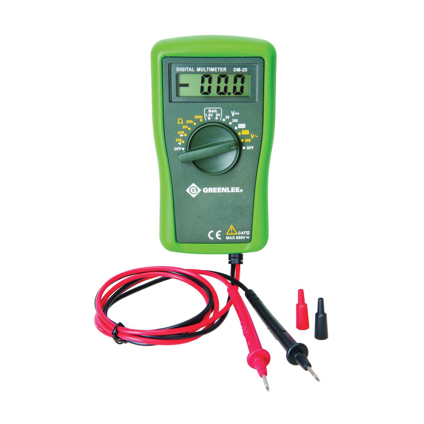 Picture of Greenlee DM-25 Digital Multimeter, Digital Display, Functions: AC Voltage, DC Voltage, Resistance