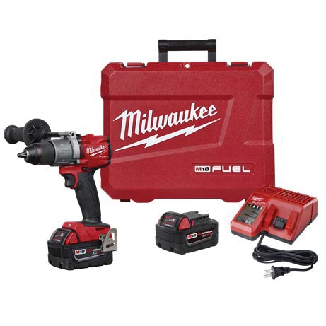 Picture of Milwaukee M18 FUEL 2804-22 Hammer Drill Kit, Kit, 18 V Battery, 5 Ah, 1/2 in Chuck, Ratcheting Chuck