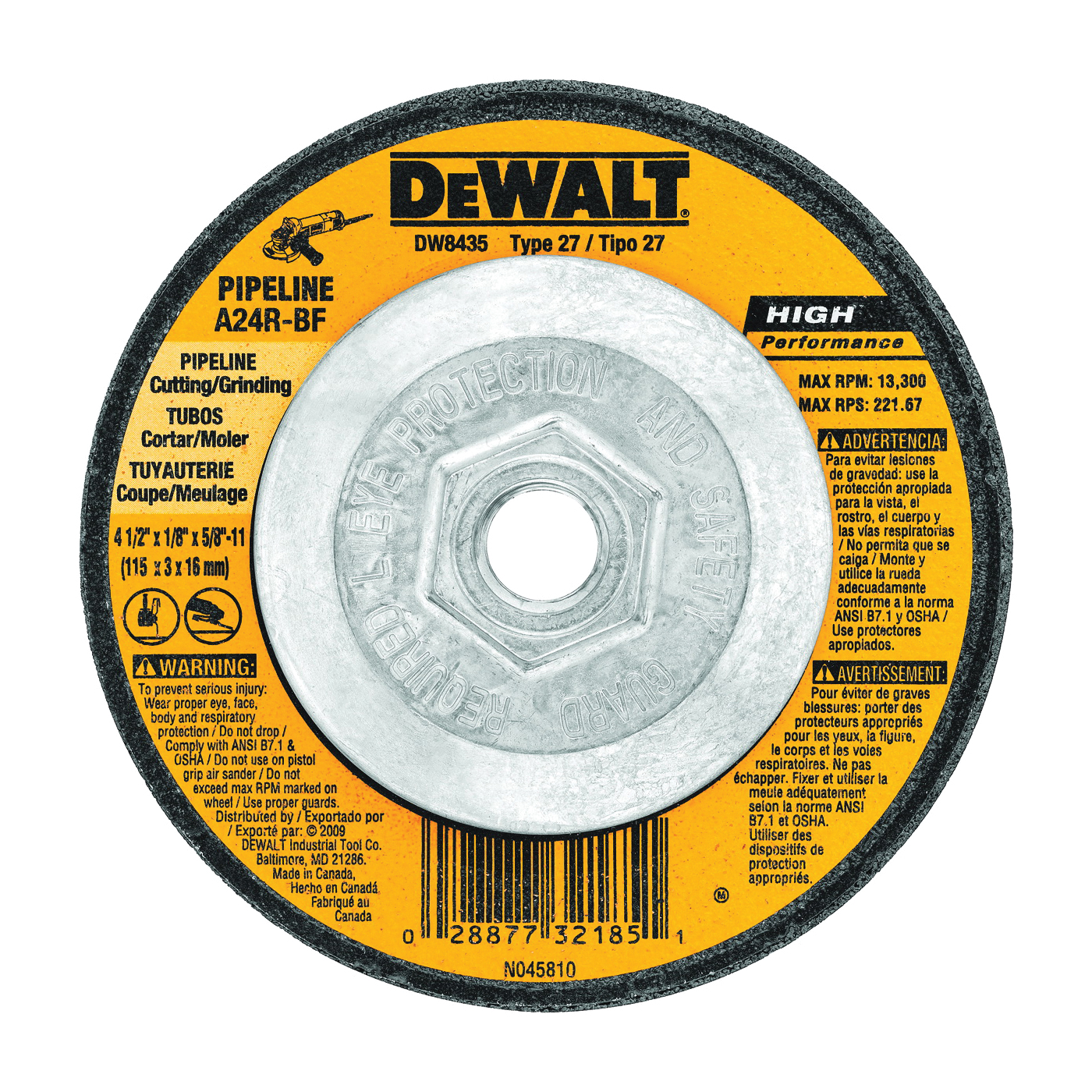 Picture of DeWALT DW8435 Grinding Wheel, 4-1/2 in Dia, 1/8 in Thick, 5/8-11 in Arbor, 24 Grit, Aluminum Oxide Abrasive