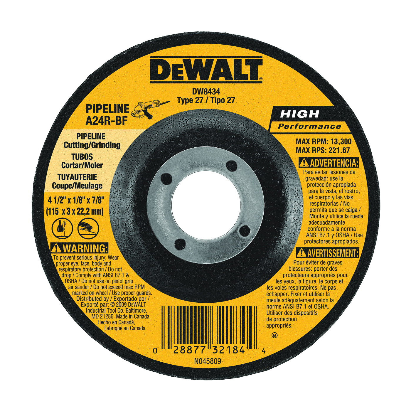 Picture of DeWALT DW8434 Grinding Wheel, 4-1/2 in Dia, 1/8 in Thick, 5/8 in Arbor, 24 Grit, Aluminum Oxide Abrasive