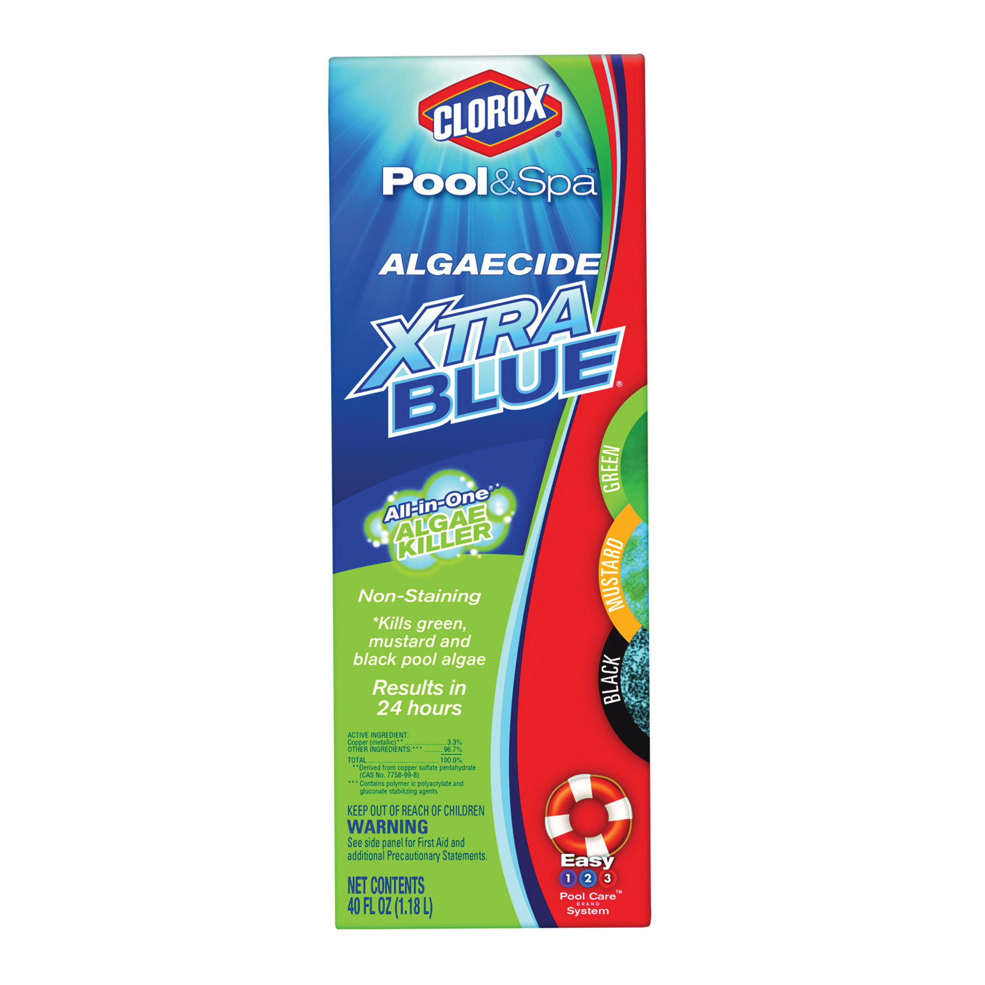 Picture of Clorox 43040CLX Algaecide, 40 oz, Liquid, Acidic, Blue/Green